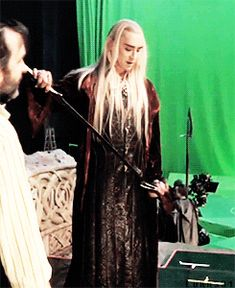 #LeePace stunning as #Thranduil behind the scenes.