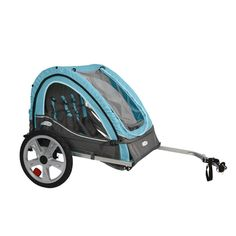 Double Bicycle Child Bike Trailer Kids Children Biking Cycling Stroller Folding #InSTEP