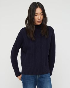 Funnel Neck Box Shapeв Herringbone knit  40% wool 25% viscose 25% polyamide 10% cashmere Size M = 58cm