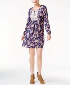 Style & Co Crochet-Trim Peasant Dress, Created for Macy's - Purple XXL