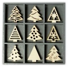 Wooden Laser Cut Ornaments - Case of 45, Christmas Trees