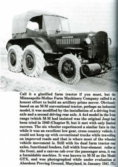 Minneapolis-Moline GTX Antique Tractors, Old Tractors, Minneapolis Moline, Armored Vehicles, Old Trucks, Old Cars, Military Vehicles, Offroad, Cars And Motorcycles
