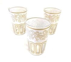 Morocco 3 Tea Large White & Gold Glasses Set Decorated Glass Cup Shot Glass Wine #NatalyStyle