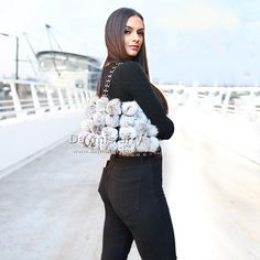 £26.00 #ootd #fur #bag #furbag #accessory #ladyfashion #ladystyle #womenswear #womenfashion #womenstyle #rabbitfur #pompom #pompombag #realfur #handmade #boutique #gift #giftforher #new #love #furry #picoftheday #sale Fur Bag, Fur Pom Pom, Rabbit Fur, Ootd, Rabbits, Bag Making, Cosmetic Bag, Night Out, Lady