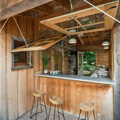 A cabin on the lake raises the bar by hoisting awning windows up on ropes for a kitchen pass through which leads out to the waterfront dock and boathouse complete with a woody. Be sure to see what else this retreat has in store at http://homebars.barinacraft.com/post/96720169158/lake-cabin-bar-with-awning-windows