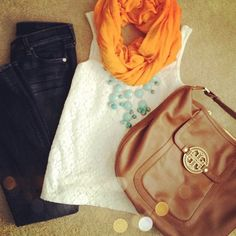 Simple chic-Love the orange scarf Looks Style, Style Me, Spring Summer Fashion, Autumn Winter Fashion, Summer Fall, Winter Style, Look Fashion, Fashion Outfits, Preppy Fashion