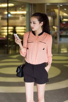 Korean Fashion---I love this look, with longer pants I would wear this to work :)