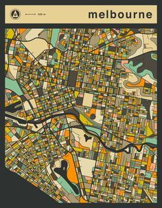 Poster | MELBOURNE MAP von Jazzberry Blue | more posters at http://moreposter.de