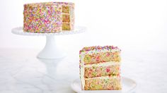 """This colorful, whimsical vanilla cake has sprinkles inside and out, and just may be the ultimate birthday cake. This recipe is adapted from the book, """"Baked Occasions"""" by Matt Lewis and Renato Poliafito. Martha prepared this cake on Martha Bakes, episode Round Cake Pans, Round Cakes, Cake Recipes, Dessert Recipes, Desserts, Baking Recipes, Cake Delivery, Let Them Eat Cake, Pastries"""