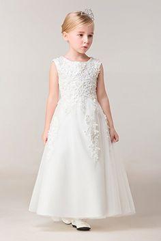 Yuanlu O-Neck Flower Girl Dresses For Wedding Princess Dress (12, White)