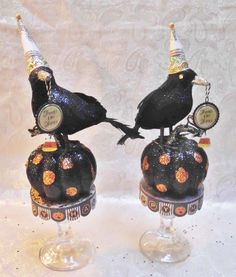Halloween Crow on Pedestal Available for purchase at:  Etsy: laughterandlemondrop  Ebay: lemondrops2011