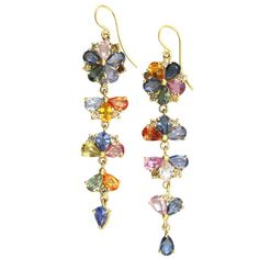 Sapphire Flower Drop Earrings | From a unique collection of vintage dangle earrings at https://www.1stdibs.com/jewelry/earrings/dangle-earrings/