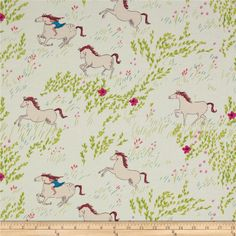 Michael Miller Wee Wander Summer Ride White from @fabricdotcom  Designed by Sarah Jane for Michael Miller, this cotton print is perfect for quilting, apparel and home decor accents.  Colors include white, pink, magenta, teal, green and brown.