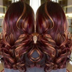 Copper highlights red violet hair color with highlights burgundy hair wit. Winter Hairstyles, Cool Hairstyles, Burgundy Hairstyles, Violet Hair, Fall Hair Colors, Fall Winter Hair Color, Hair Color And Cut, Great Hair, Awesome Hair