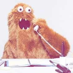 We need an office monster. you know, to answer phones and whatnot. Weird And Wonderful, Puppets, Namaste, Make Me Smile, Retro, Creepy, Illustration, Hilarious, Creatures