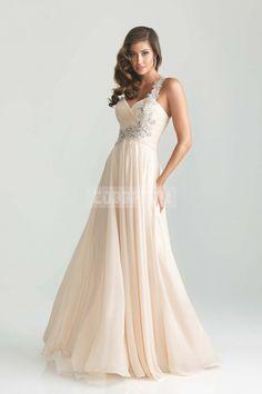 Appliques A-line One Shoulder Natural Waist Chiffon Prom Dress