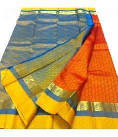 Orange Handloom Kanjeevaram Silk Saree