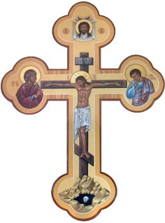 The icon portrays revelation: the crucifixion of the human Jesus as the appearance of the eternal God. Religious Icons, Religious Art, Sign Of The Cross, Christian Symbols, Holy Cross, Catholic Art, Orthodox Icons, Sacred Art, Crosses