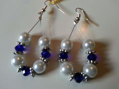 White Pearl and Royal Blue Crystal Glass Baeded Earings £5.00