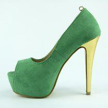 Sapato Feminino Peep Toe Salto Alto Verde Dourado