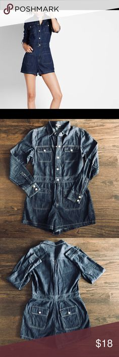 d45f31d6fa0 Express Workman Denim Romper Express Workman Denim Romper. Worn only once.  Very comfortable and can be dressed up or worn casually.