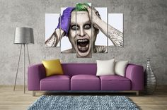 The Joker 5 Panel Canvas Wall Art Print Canvas Artwork, Canvas Frame, Canvas Wall Art, Joker Painting, Joker Poster, Wall Art Prints, Canvas Prints, Leto Joker, Gotham