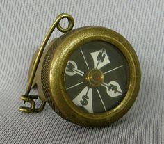Antique Brass Boy Scout Compass Pin   1.5x1''