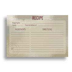 Water Resistant Recipe Cards, Set of 48, 4x6 inches, Napa Valley Wine