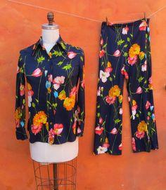 Vintage 1970s Floral 2 Piece Pant Suit. Shirt by SweetPickinsShop