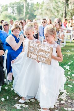 Here comes the love of your life flower girl sign