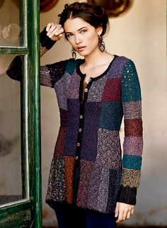 An extraordinary patchwork of tweedy hues and lacework is handcrocheted in rich shades of teal, plum, brandy and lavender, grounded in black. A collectible art knit cardigan, in pima (50%), alpaca (44%) and wool (6%). The shapely silhouette has a round neck, ribbed trim and back-dipping hem.
