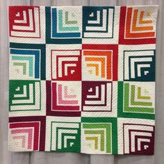 Modern Log Cabin Quilt made with Solids