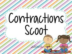 "This is fun ""scoot"" activity to get your students up and moving while they work to change two word phrases into contractions!   Students locate cards posted around the classroom and, building their foundational skills, fill in their chart by writing the contraction made when the words on the card are put together!  This can also be used as a literacy or word work station at student desks!"