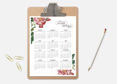2016 Wall Calendar Printable Calendar Floral por TheWickedWall Calendar Wall, 2016 Calendar, Calendar Printable, Clipboard, Printables, Templates, Etsy, Digital, Floral