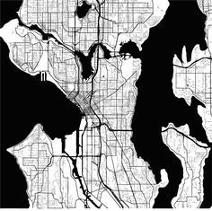 Download from $0.99, Seattle, Washington, USA, Monochrome Map Artprint, Vector Outline Version, ready for color change, Separated On White...,  #administrative #area #atlas #border #capital #cartography #city #detail #downtown #geography #graphic #harbor #highways #illustration #image #interstate #macro #map #monochrome #neighborhoods #outline #roads #seattle #sign #states #streets #symbol #tourism #travel #trip #united #usa #vacation #vector #view #visit #Washington #white