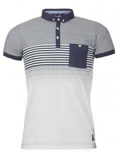 White & Navy Striped & Polka Polo Shirt