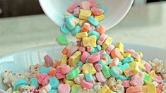 Lucky Charms Rainbow Chex Mix--- Easy snack idea that my littles could make for a Friday treat at school (Easter Chex Mix) Easy Snacks, Yummy Snacks, Yummy Treats, Delicious Desserts, Sweet Treats, Yummy Food, Fun Food, Chex Mix, Lucky Charms Marshmallows