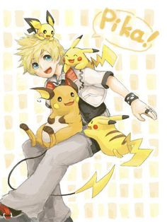 Pokemon meets Kingdom Hearts. Roxas is so perfect with the Pika evolutions!!!
