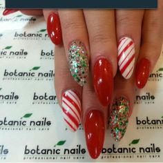 Candy cane stripes and glitter.