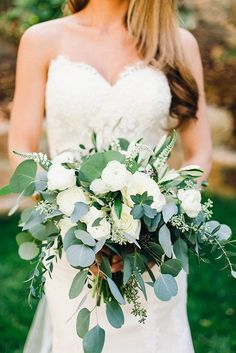 white garden rose and eucalyptus wedding bouquets