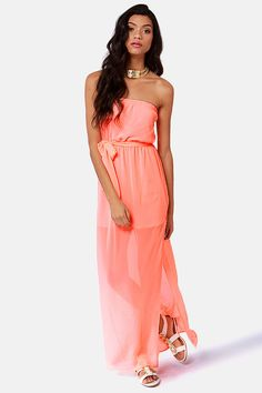 Cute Maxi Dress - Neon Coral Dress - Strapless Dress - $41.00