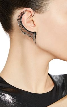 Black Rhodium Plated Mono-Earring With Black Diamonds by CristinaOrtiz for Preorder on Moda Operandi