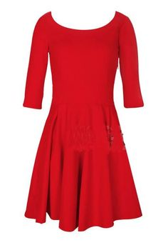 To find out about the Red Vintage Pleated Mid Sleeve Shift Dress at SHEIN, part of our latest Dresses ready to shop online today! Plain Dress, Dress Up, Skater Dress, Dress Picture, Get Dressed, Half Sleeves, Dress To Impress, Girls Dresses, Women's Dresses