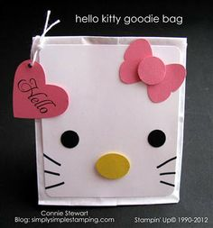 Sarah Pinyan posted Hello Kitty goodie bag or card idea to her -Papercraft- postboard via the Juxtapost bookmarklet. Hello Kitty Theme Party, Hello Kitty Birthday, Kitty Party, Goodie Bags, Gift Bags, Favor Bags, Punch Art Cards, Origami, Kids Cards