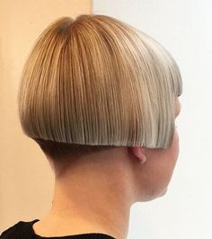 I am not as fond of this style, a bit to straight across the back and sides Half Shaved Hair, Shaved Nape, Short Hair Cuts, Short Hair Styles, Stacked Bob Hairstyles, Shaved Hairstyles, Wedge Hairstyles, Bob Haircut With Bangs, Girls Short Haircuts