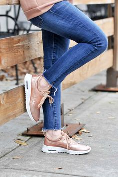 Nike Metallic Air Max Thea Rose Gold Sneakers - Poor Little It Girl