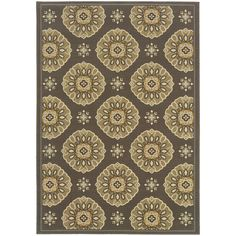 With an eye-popping design, this modern gray area rug can be used indoors or outdoors. It features neutral colors and a floral pattern, which will coordinate with a variety of home decors, and it is constructed of polypropylene for durability.