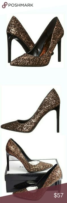 """🆕Nine West Bronze Glitter Dress Heels You'll be ready for the party in these high fashion heels. A glittering gold finish enhances the style and can be paired with your best evening wear for a sophisticated look. Approximate heel height: 4"""". Nine West Shoes Heels"""