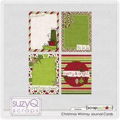 Christmas journaling cards for project life freebie