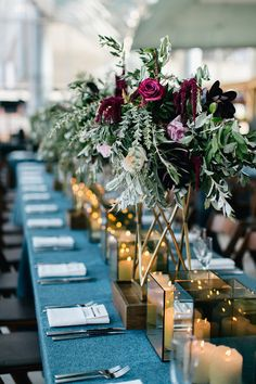 Modern blue tablescape by Emily Wren Photography http://www.100layercake.com/real-weddings/bold-and-beautiful-philadelphia-wedding-nicole-kevin/